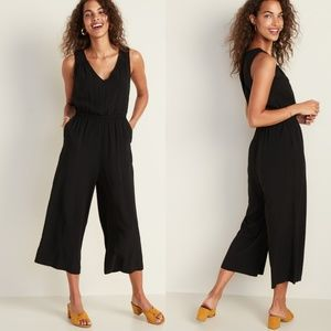 Old Navy Black Waist-Defined Cropped Wide-Leg Jump
